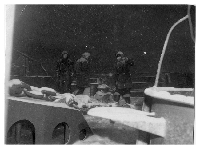 The cable party working on the fo'csle in the arctic conditions off Norway. Photo: Chris Thomas