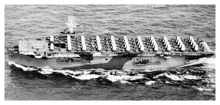 HMS PREMIER on aircraft ferrying duty c.1944, she is carrying a full load of Corsairs on her flight deck. Photo: Author's collection