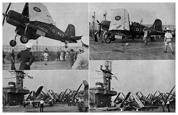 August 30th 1944: Corsair MK.IIIs belonging to 1845 naval air squadron are loaded aboard PUNCHER for ferrying to the UK.  The squadron had formed and worked up in the USA at USNAS Brunswick, Maine.