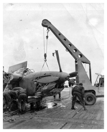 The Barracuda pictured left after being extricated from the foc'sle after its Deck Landing Training accident, August 1944