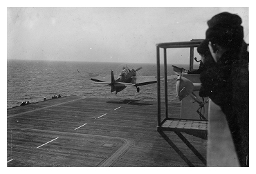 Avenger, JZ102 attempting to recover flying speed after an arrestor wire parted. Photo: Courtesy of John Lawson