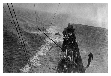 Unable to recover the Avenger dithed off the starboard bow and was overtaken by the ship. Photo: Courtesy of John Lawson