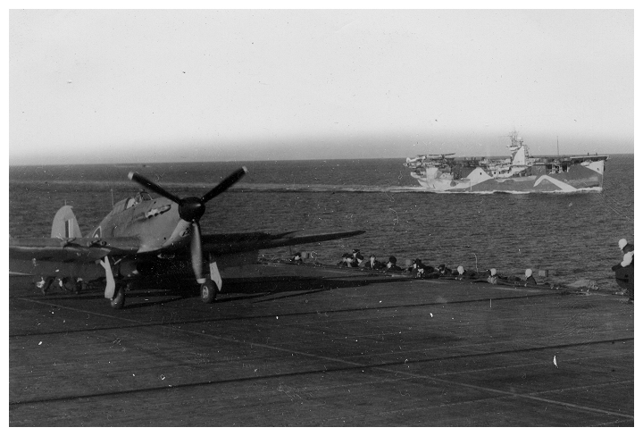 A Sea Hurricane of 824 squadron awaiting take off for a patrol, STRIKER's sister CVE HMS FENCER is sailing in formation with her.