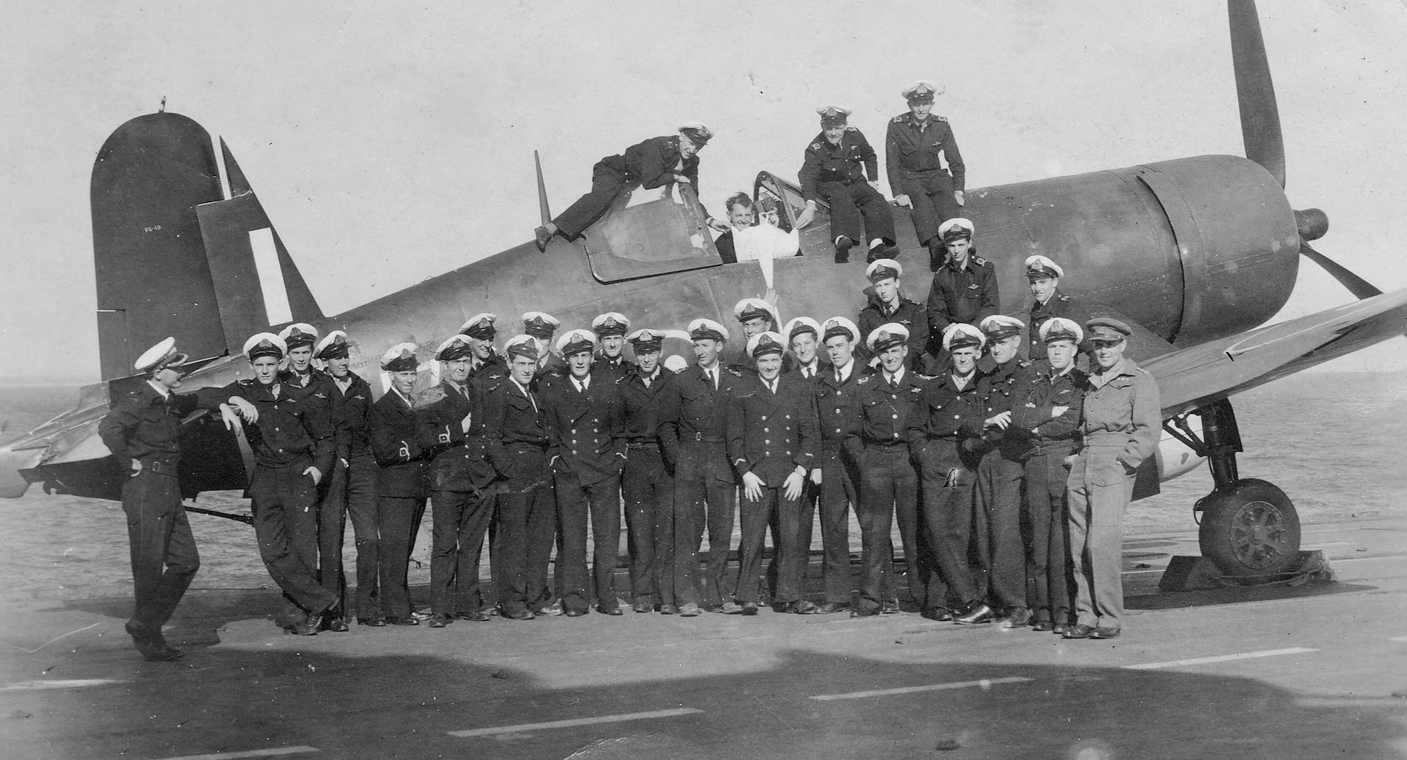 The officerso f 1846 Squadron pose with one of their Corsairs on HMS  COLOSSUS. C. Spring 1945. Photo courtesy Mr, Ian Jones. Click on image to  see larger ...